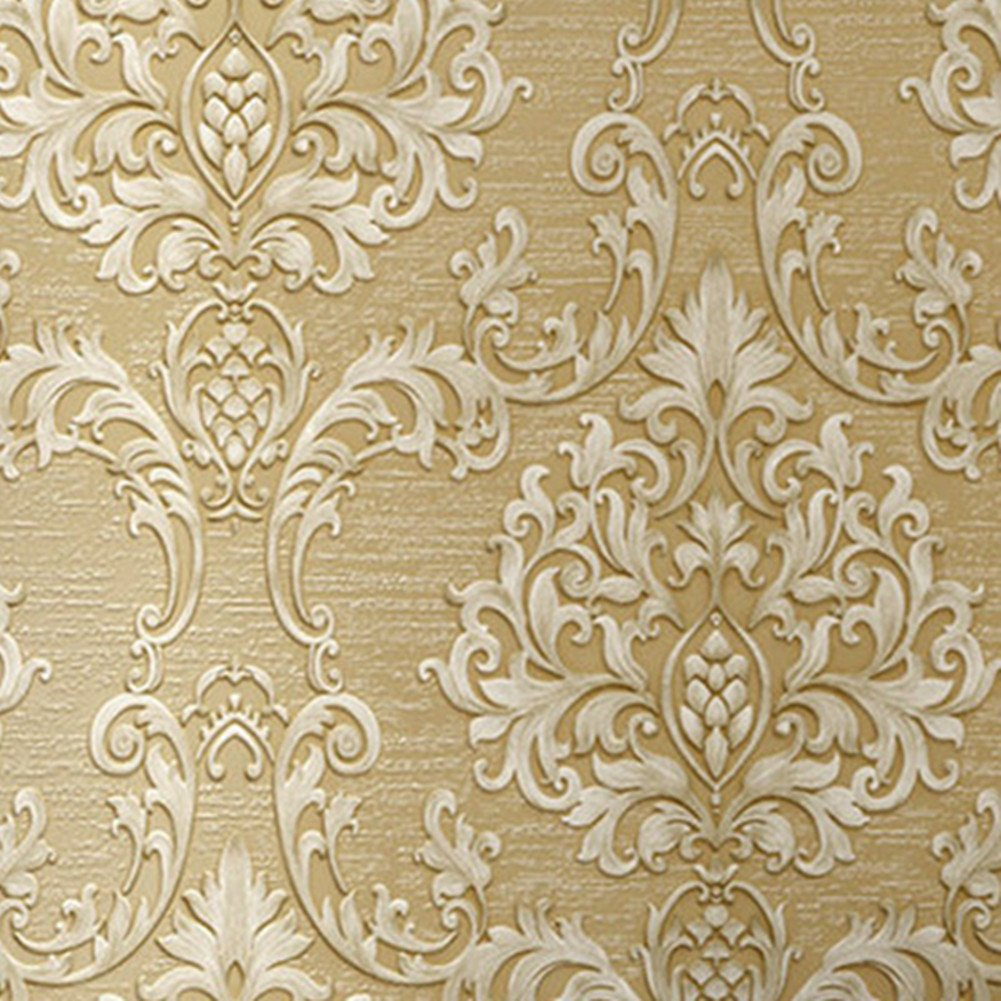 Luxury Decorative Pattern Dark Gold Wallpaper (20.5 inches Wide)