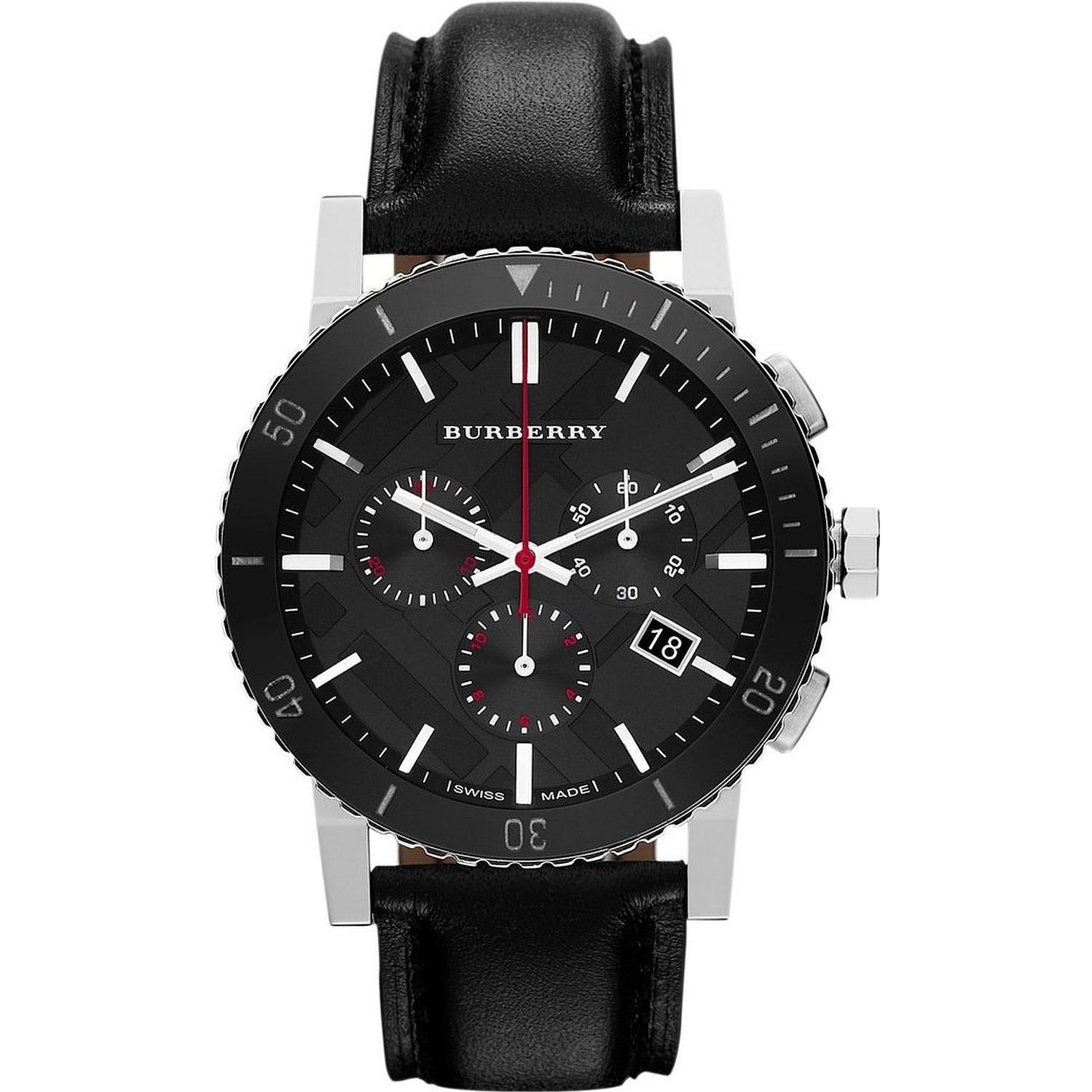 216ace9ec261 Amazon.com: Burberry Black Dial Chronograph Black Leather Mens Watch  BU9382: Burberry: Watches