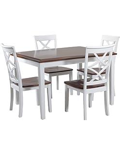Powell 14D2040 5 Piece Harrison Dining Set, Cherry/White