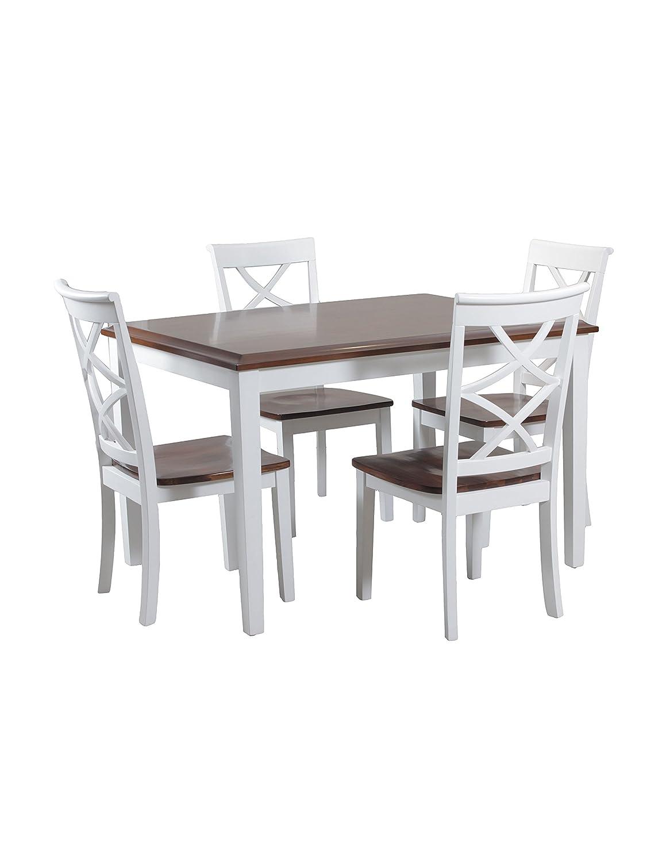Amazon.com   Powell 14D2040 5 Piece Harrison Dining Set, Cherry/White    Table U0026 Chair Sets