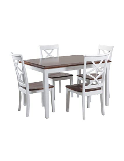 Powell 14D2040 5 Piece Harrison Dining Set, Cherry/White