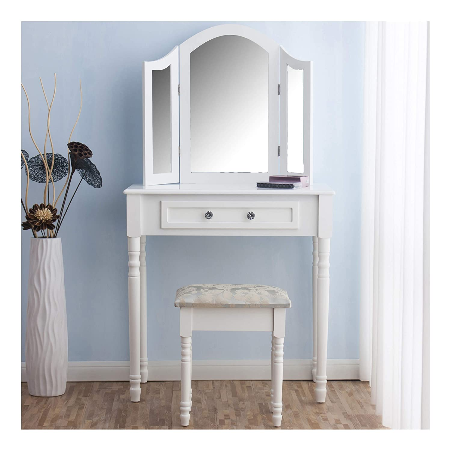 CherryTree Furniture Dressing Table 3 Way Mirrors Triple Mirror Makeup Dresser Set with Stool (White) Cherry Tree Furniture