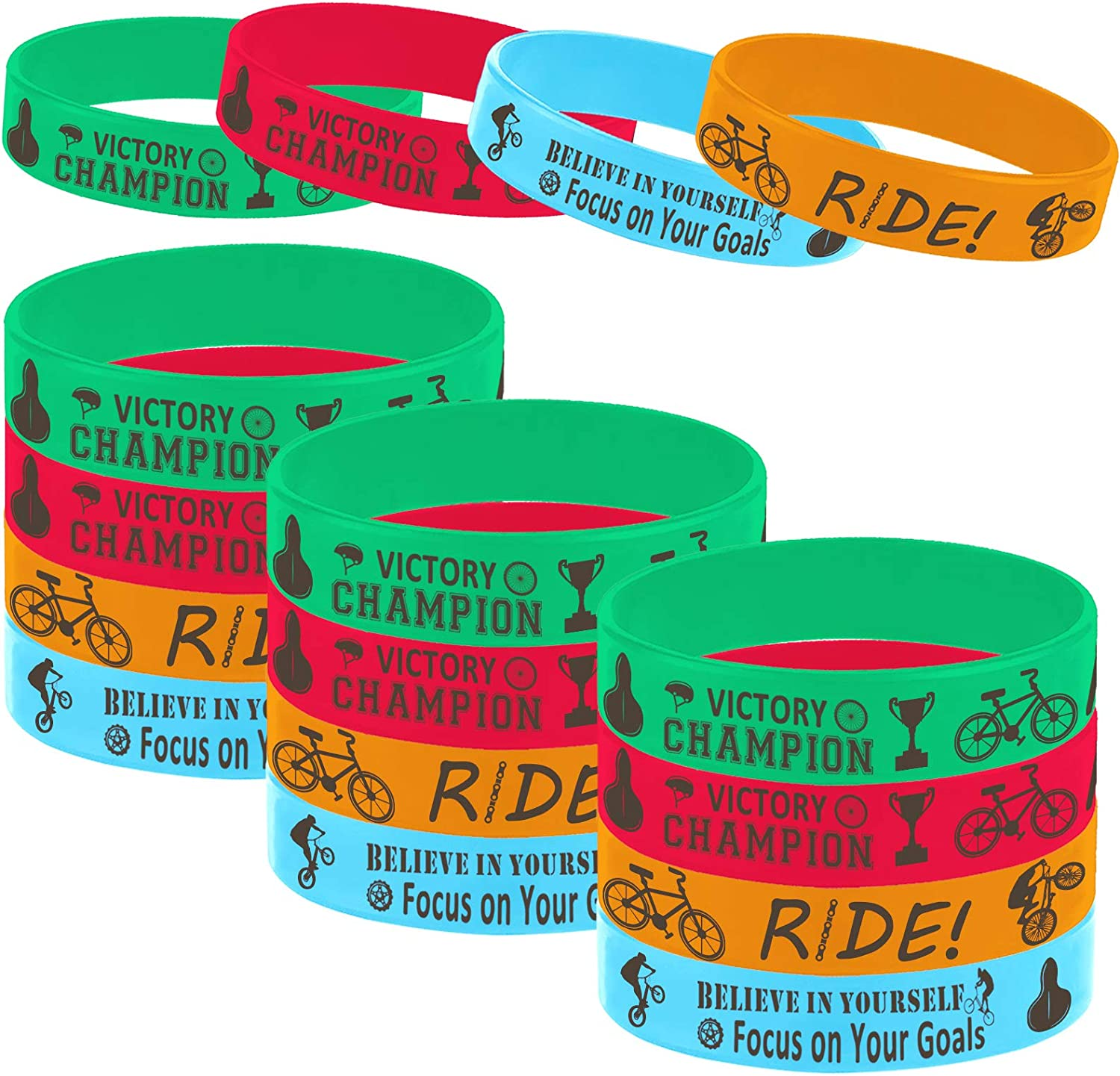 Oringaga 24PCS Bicycle Party Motivational Rubber Bracelets for Kids Adult, BMX Bike Game Party Baby Shower Birthday Party Supplies Decorations Gifts Prize Goodie Bag Favors Silicone Wristbands