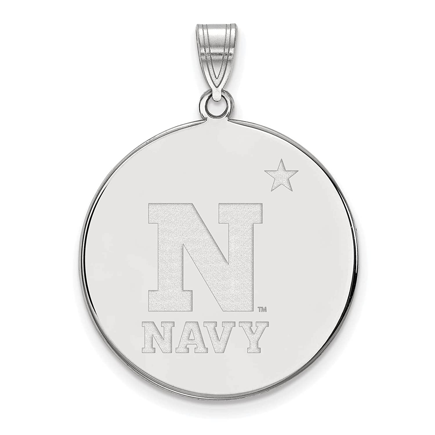 925 Sterling Silver Rhodium-plated Laser-cut United States Naval Academy XL Disc Pendant