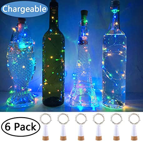 Party KOBWA Wine Bottle Cork Lights Christmas 4 Pack USB Operated LED Cork Shape Silver Copper Wire Fairy Mini String Lights for DIY Decor Halloween,Wedding 59Inch 15 LEDs