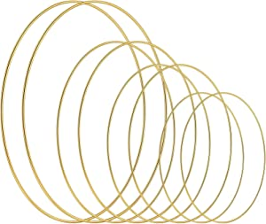 8 Pieces Metal Rings, DIY Wreath Gold Metal Rings Macrame Rings for Crafts, Dream Catcher, Baby Mobile, Wedding and Home Decor (Gold, Light Gold, 10/7.5/6/ 4 Inch)
