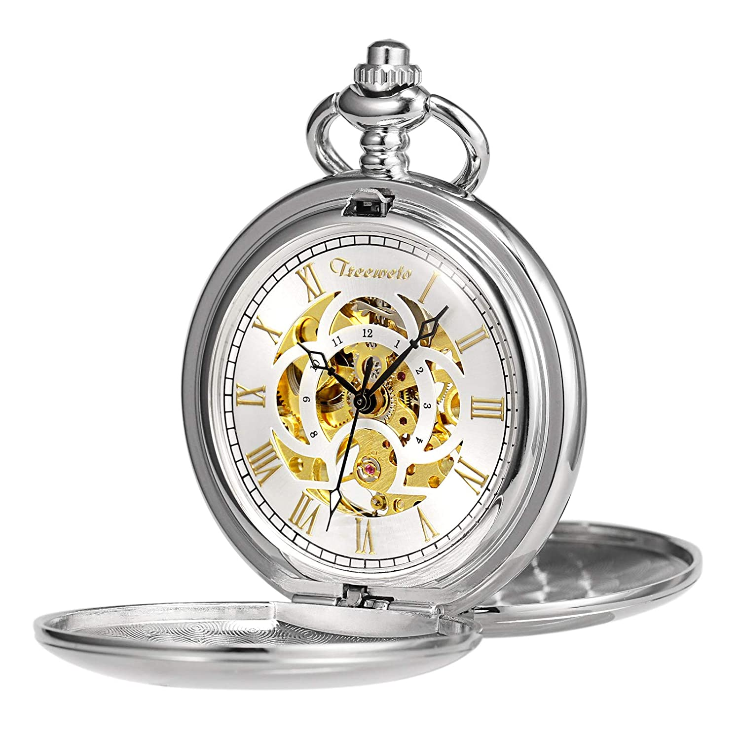 TREEWETO Pocket Watch Classic Smooth Double Case Mechanical Silver Pocket Watches Steampunk Roman Numerals Fob Watch for Men Women with Chain