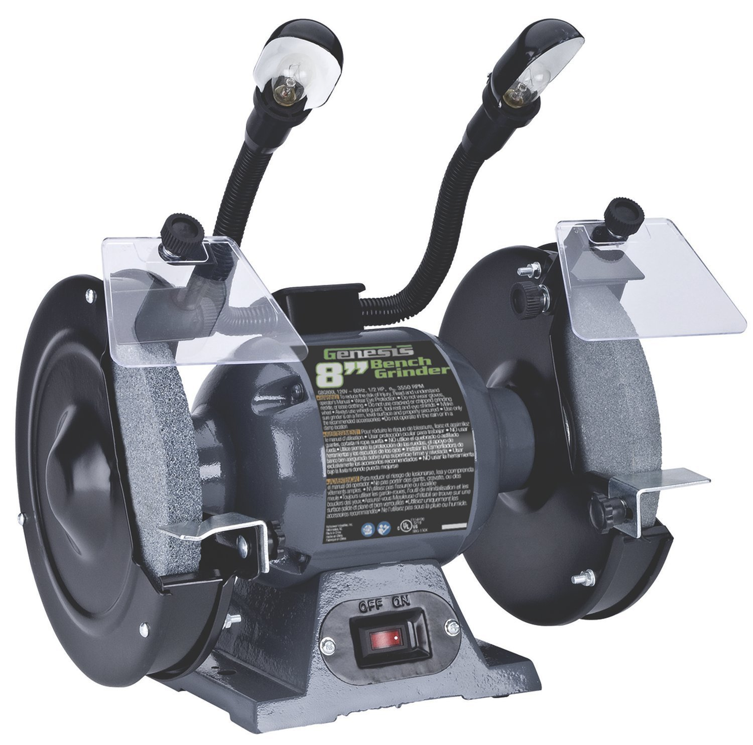 8 8 Genesis GBG800L Bench Grinder with Dual Light
