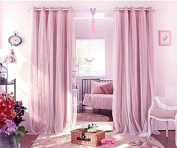 Nibesser Vorhange Kinderzimmer Madchen Gardinen Blickdicht Babyrosa Sterne Aushohlen Schlafzimmer Kinder Doppelschicht Vorhange 2er Set 175cmx140cm