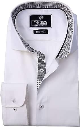 Camisa de Hombre de algodón Puro con Textura en Contraste ...