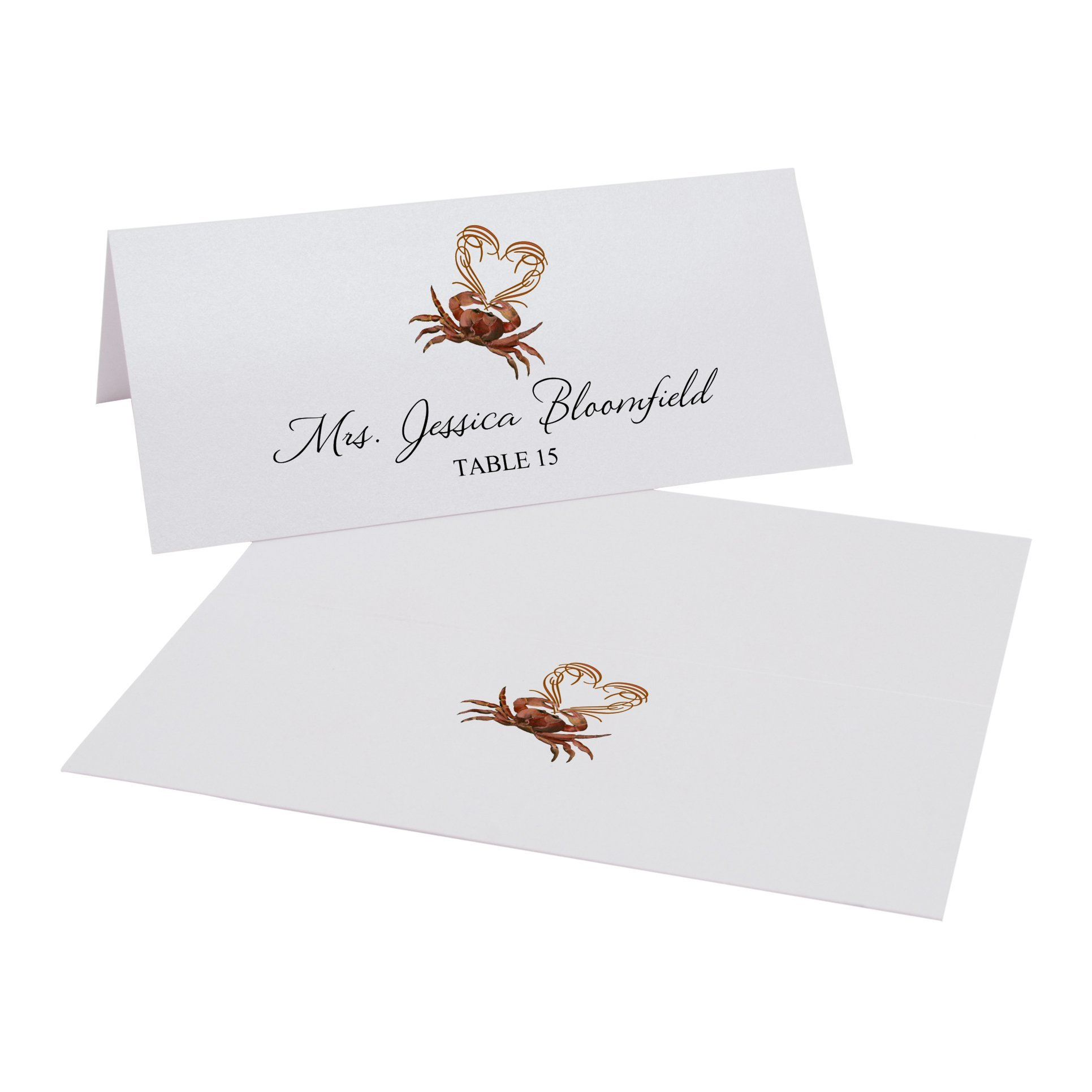 Crab and Heart Place Cards, Pearl White, Set of 375