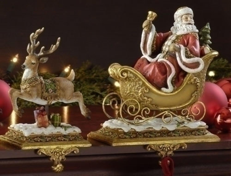 Roman Set of 2 Joseph's Studio Santa Claus and Reindeer Christmas Stocking Holders
