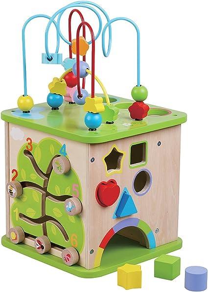Grand cube d'activités en bois. multicolore