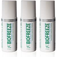 Biofreeze Pain Relief Gel for Arthritis, 3 oz. Roll-on Topical Analgesic, Fast Acting and Long Lasting Cooling Pain Reliever Cream for Muscle Pain, Joint Pain, Back Pain,Colorless Formula, Versión nueva, Roll On - Pack of 3