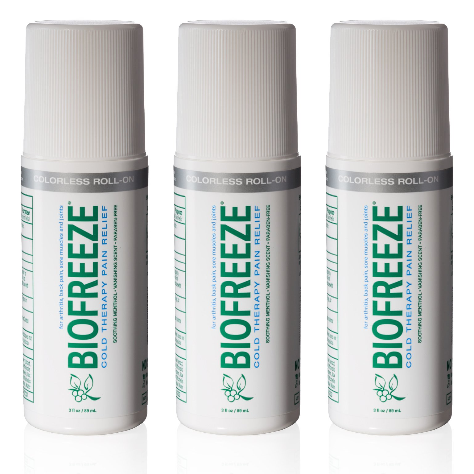 Biofreeze Pain Relief Gel, 3 oz. Colorless Roll-On, Fast Acting, Long Lasting, & Powerful Topical Pain Reliever, Pack of 3