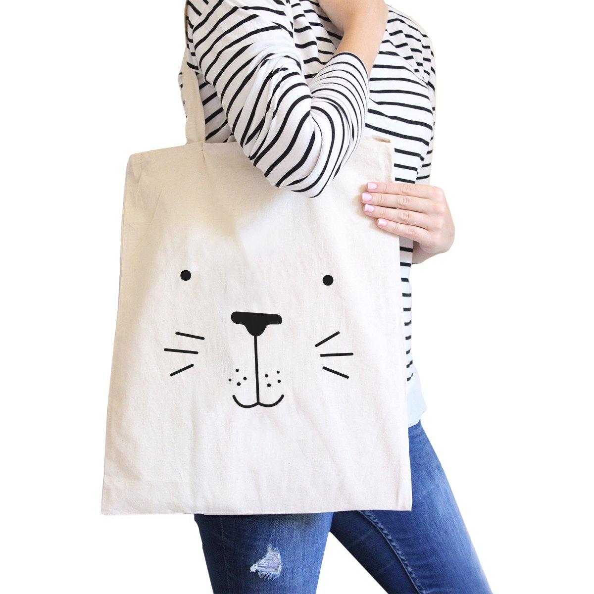 365 Printing Seal Cute Face Natural Canvas Bags Cute Design Printed Diaper Bags