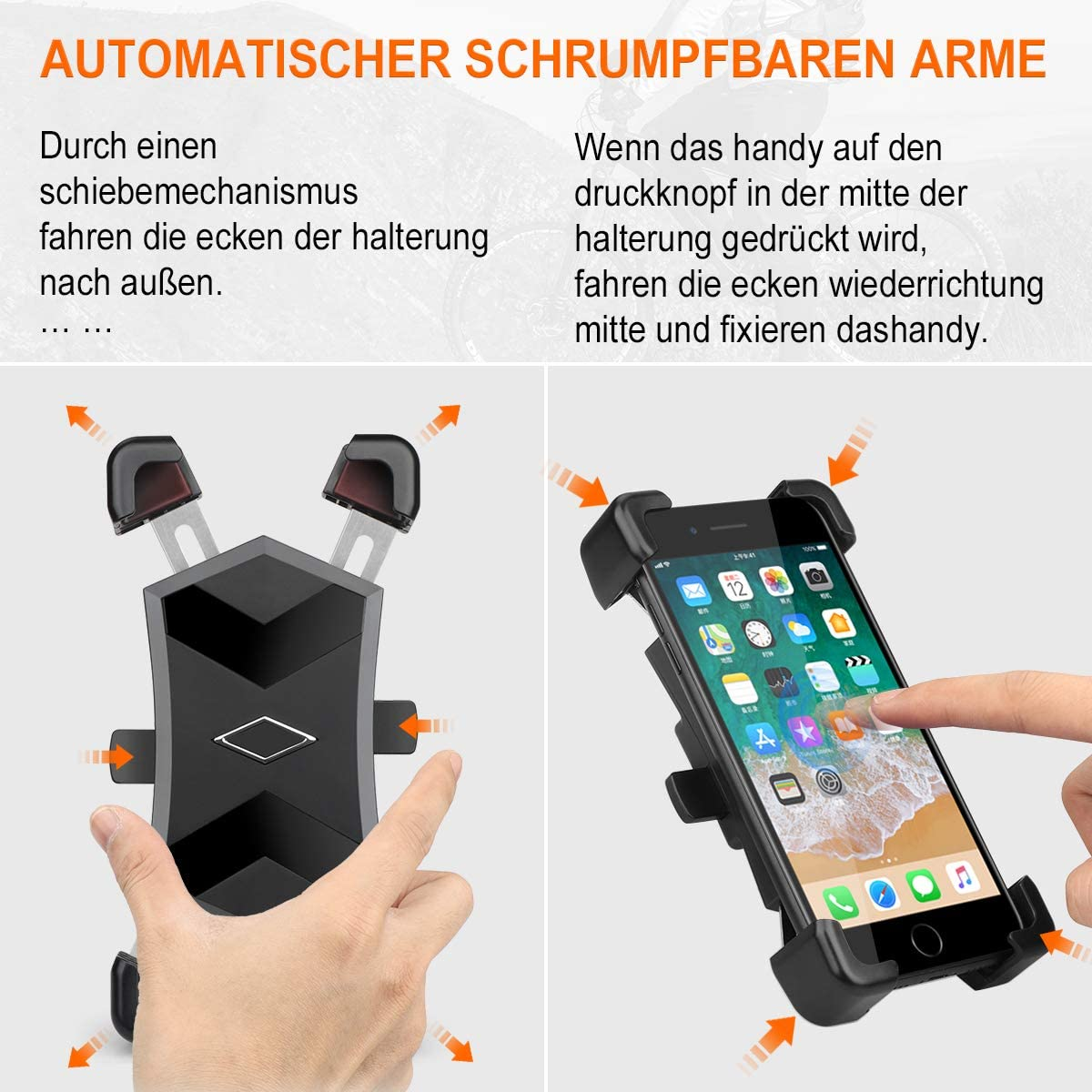 Supporto Cellulare Moto con Rotazione a 360/° per iPhone 11Pro//11//MAX//XR//X Fino a 7,2 HASAGEI Supporto Moto Smartphone Supporto Telefono Moto