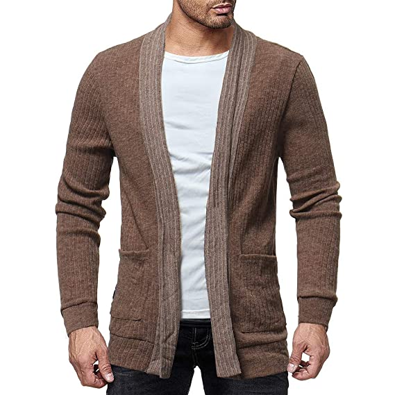 Bolayu Mens Fashion Solid Cardigan Sweater Sweatshirts Casual Slim Fit Jacket Coat at Amazon Mens Clothing store: