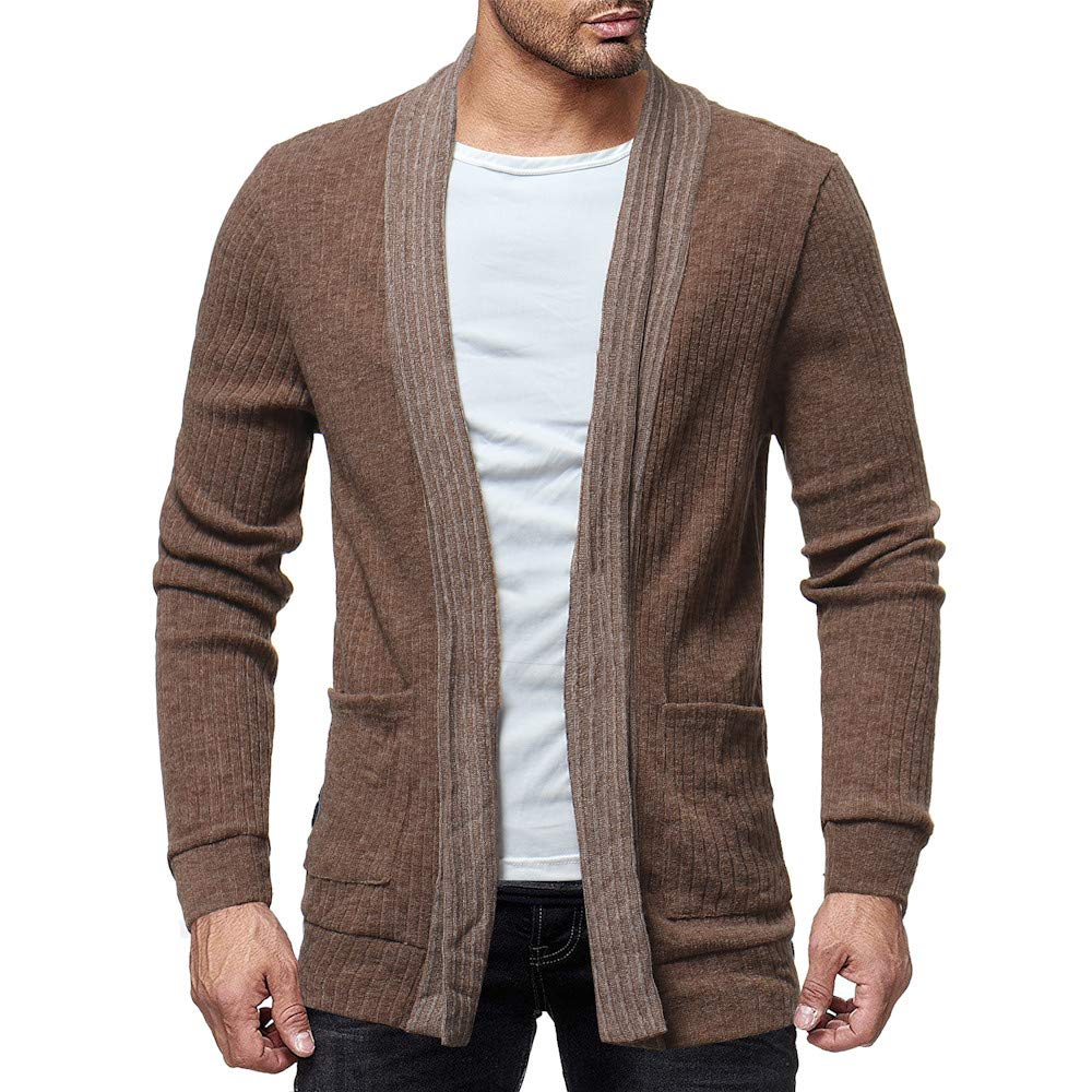 GINELO Men's Long Sleeve Draped Lightweight Open Front Shawl Collar Cardigan