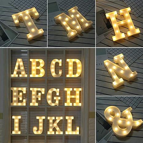 Alfabeto de plástico blanco divertido LED Luz de noche ...