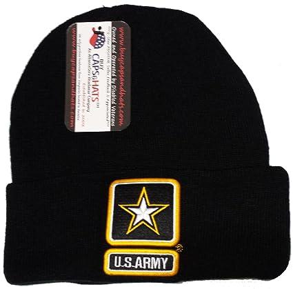 US Army Beanie Skull Cap Black Winter Watch Hat Knit Ski Skullie Skully