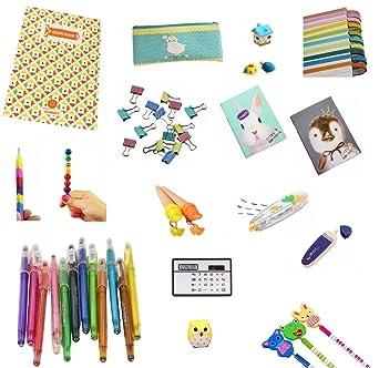 Amazon Com 53 Pieces Kids School Supplies Kit Bundle Stationery Set