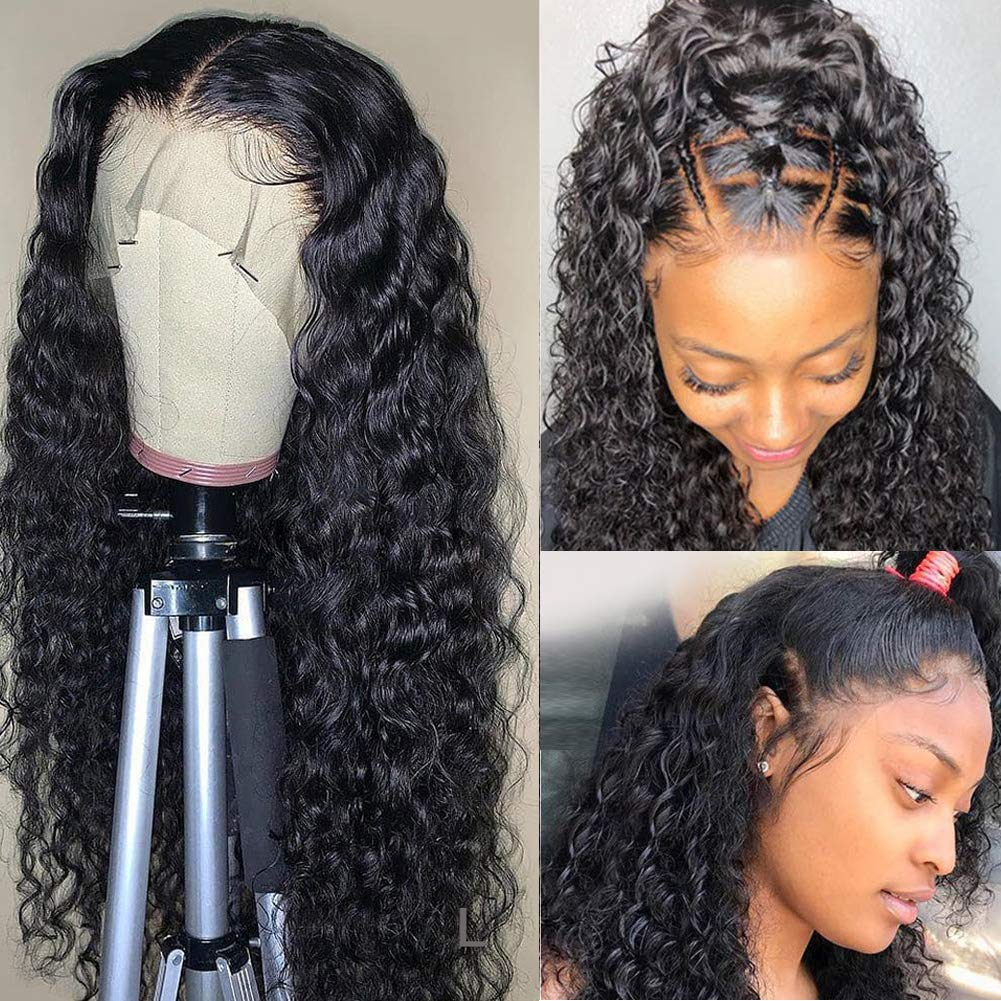 Amazon Com Water Wave Human Hair Lace Front Wigs Brazilian 13x4 Lace Frontal Wigs Pre Plucked For Black Women 150 Density With Baby Hair Natural Color 18 Inch Beauty
