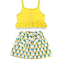 AmzBarley Toddler Kids Baby Girls Outfit Ruffle Solid Color Tops Floral Elastic Waist Short Skirt Set Summer Clothes
