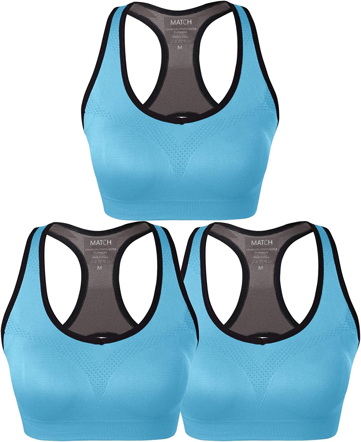 Match Women Wirefree Padded Racerback Sports Bra for Yoga Workout Gym Activewear #0001