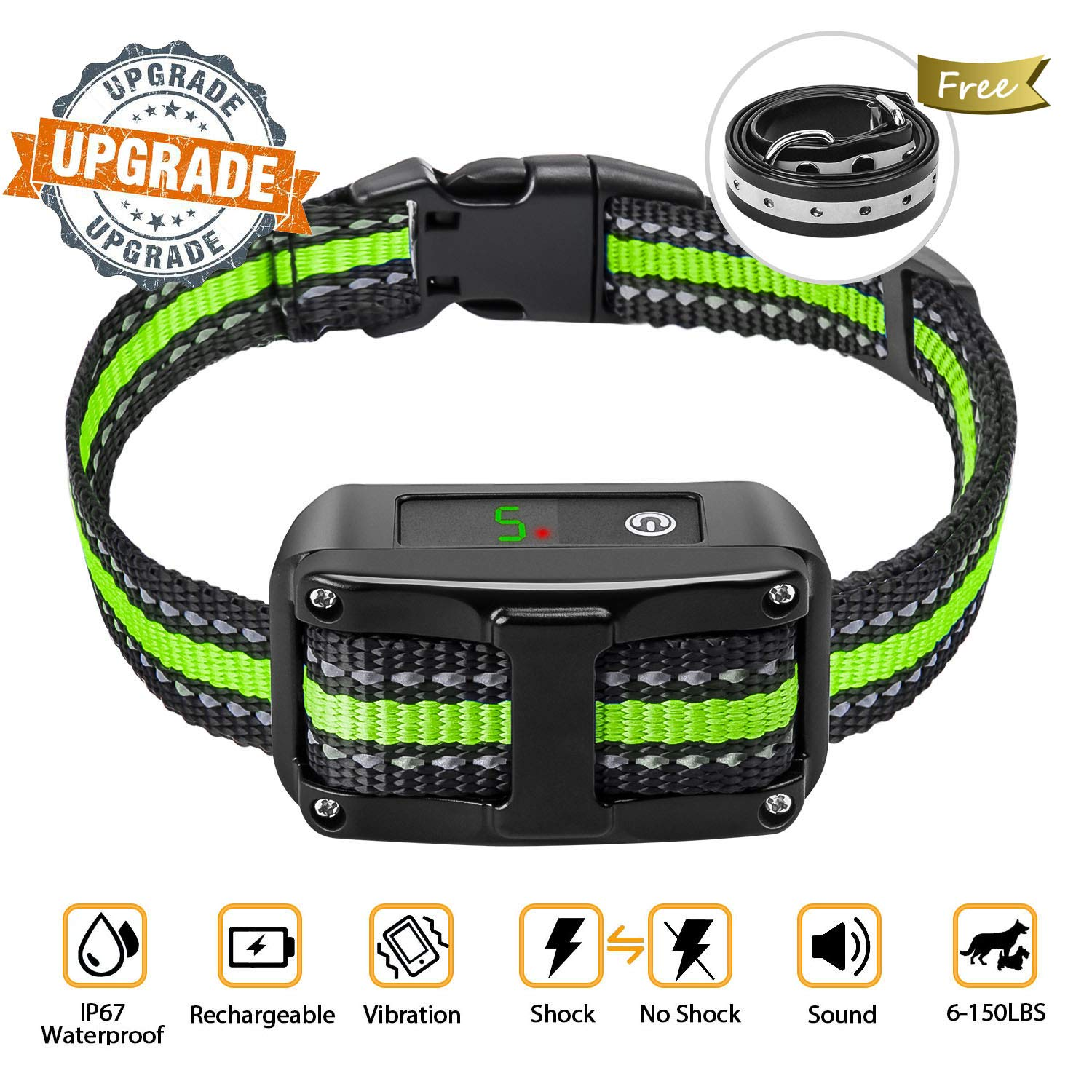 [Newest 2019]Dog Bark Collar-5 Adjustable Sensitivity and Intensity Levels-Dual Anti-Barking Modes-Rechargeable/Rainproof/Reflective -No Barking Control Dog shock Collar for Small Medium Large Dog by PetYeah (Image #1)