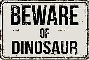 """Deerts 241VS Beware of Dinosaur 8"""" x 12"""" Vintage Aluminum Retro Metal Sign"""
