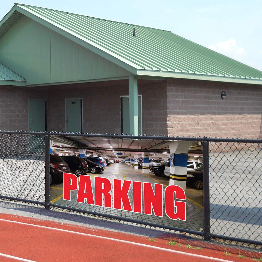 Vinyl Banner Sign Parking #1 Style D Business Park Here Marketing Advertising Red Multiple Sizes Available 4 Grommets Set of 2 28inx70in