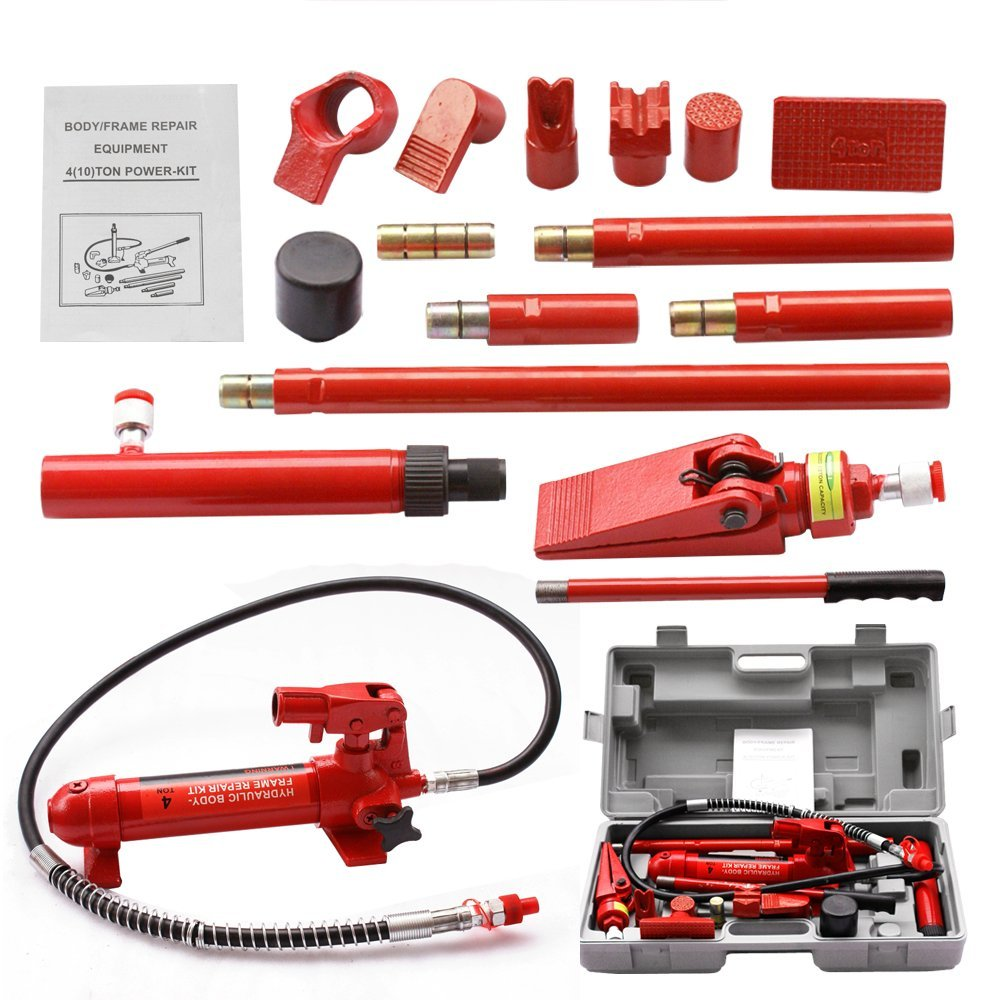 F2C 4 Ton Capacity Porta Power Hydraulic Bottle Jack Ram Pump Auto Body Frame Repair Tool Kit Power Set Auto Tool for Automotive, Truck, Farm and Heavy Equipment/Construction (4 Ton)