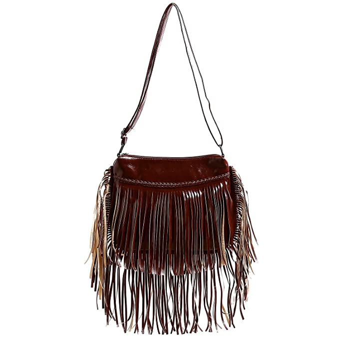 e8e12eedc007 Amazon.com  BEKILOLE Fringe Purse Fashion Women Leather Shoulder Bag  Waterproof Crossbody Purse Travel Messenger Bag Fringe Bag For Women- Brown   Clothing