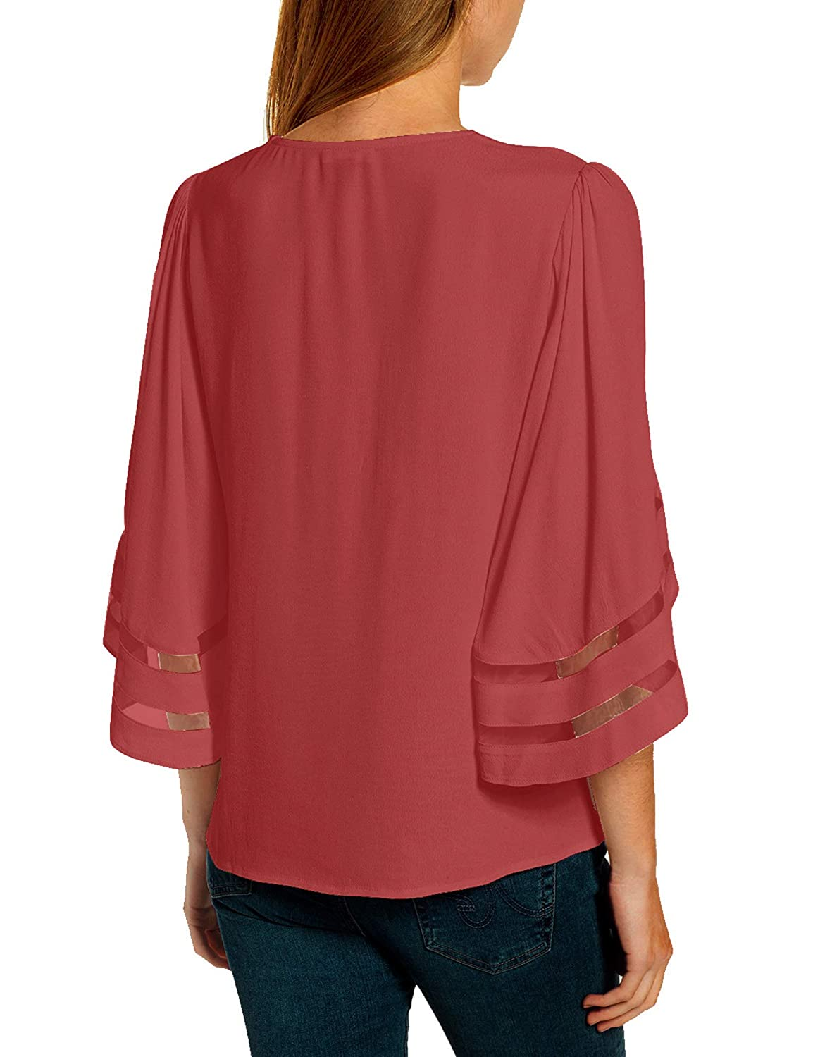 Luyeess Womens Casual Crew Neck Loose Mesh Panel Chiffon 3//4 Bell Sleeve Blouse Top Shirt Tee White US 12-14 Size L