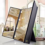 Lighted Makeup Mirror LuckyFine LED Large Touch Screen Light Illuminated Cosmetic Desktop Vanity Handy Stand Mirror for, Bathroom, Bedroom, Travel, Gift for Christmas New Year Valentine''s Day