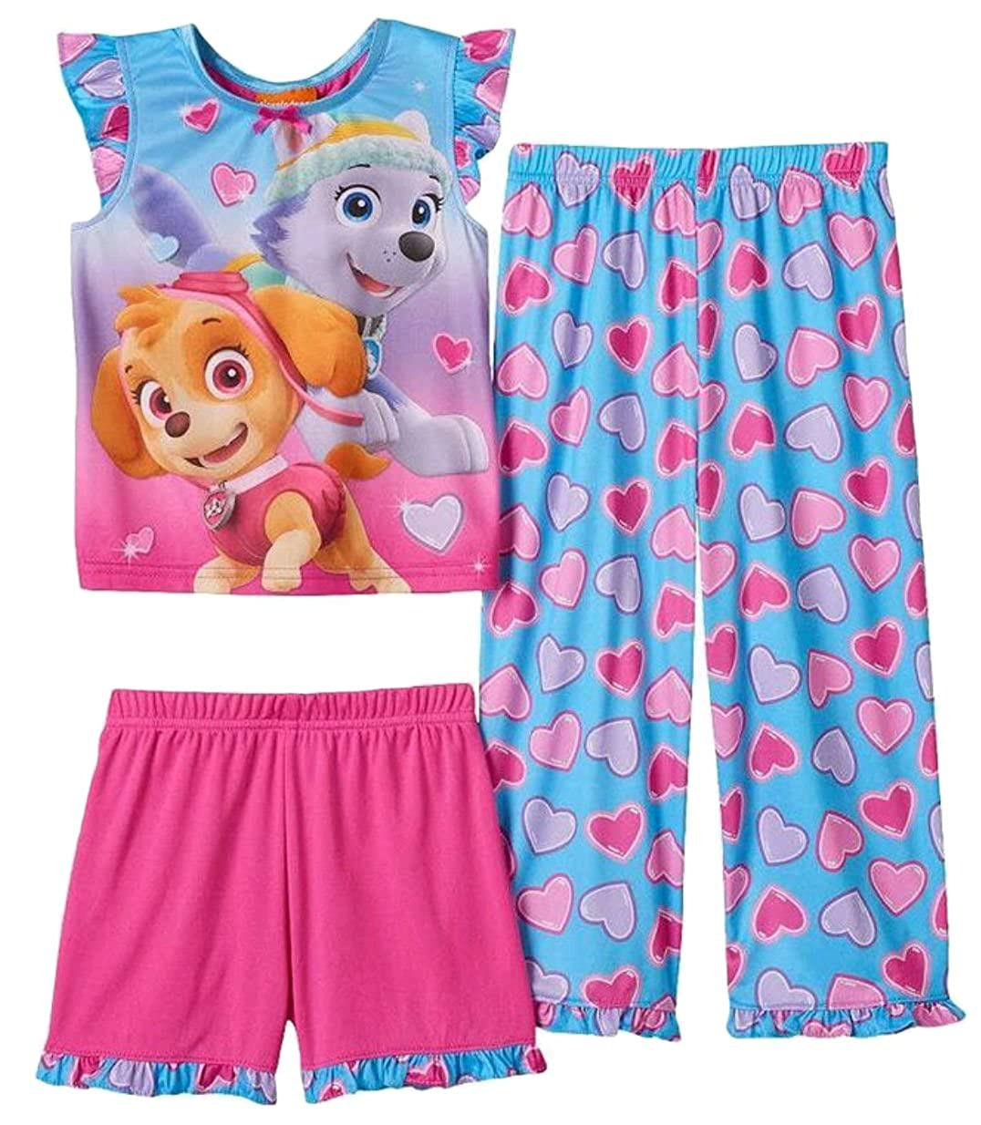 Sesame Street Nickelodeon Paw Patrol Toddler Girls 3 Piece Heart Pajama Set WN158TZTKL