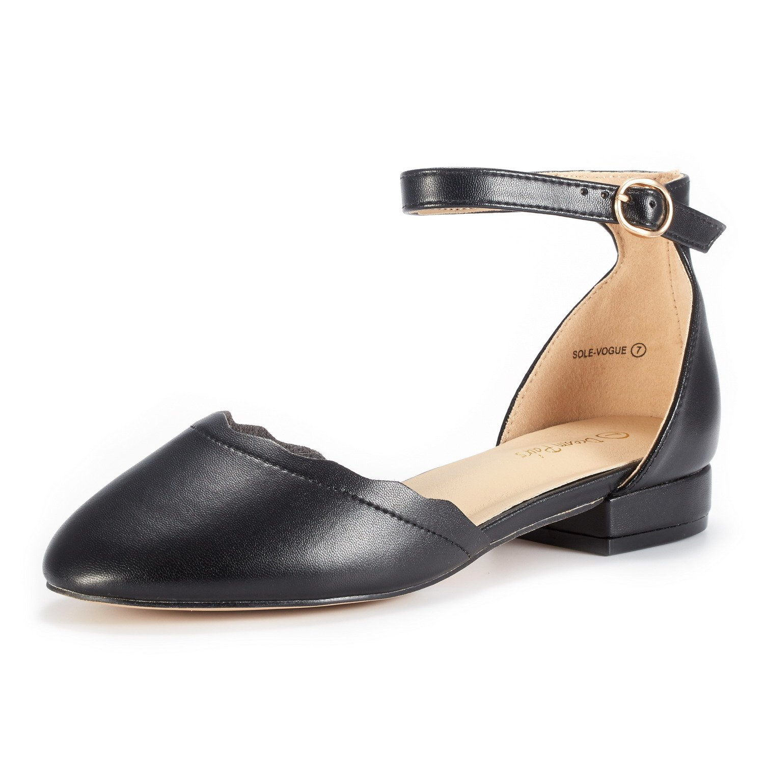 DREAM PAIRS Women's Sole_Vogue Black/PU Fashion Low Stacked Ankle Straps Flats Shoes Size 10 M US