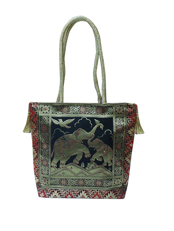 Bhamini Black Silk Gold Kissed Benarasi Handbag