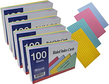 """Emraw Ruled Colored Index Card Plain Back 3/""""x5/"""" Pack of 200 Count Home /& Office For School"""