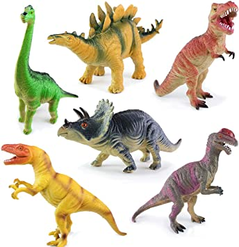 6 Different Pack of DINOSAUR TOYS With Sound Effects - Assorted Color Dinosaurs Ideal - Squeaky Educational Toys, 7-11 inch- Best Gifts for Boys or Girls NO DUPLICATES Safe Materials by Angela: