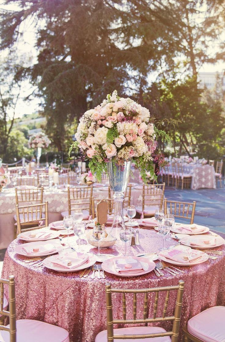 Pack of 10PCS,High Quality Sparkly 120-Inch Round Sequin Tablecloth Pink Gold Sequin Table Overlay,Cake Sequin Tablecloths,Sequin Linens for Wedding
