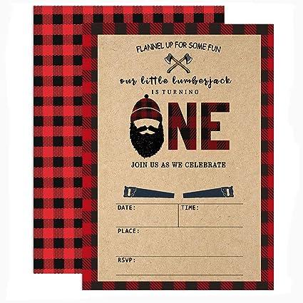 amazon com mehofoto lumberjack 1st birthday invitations red