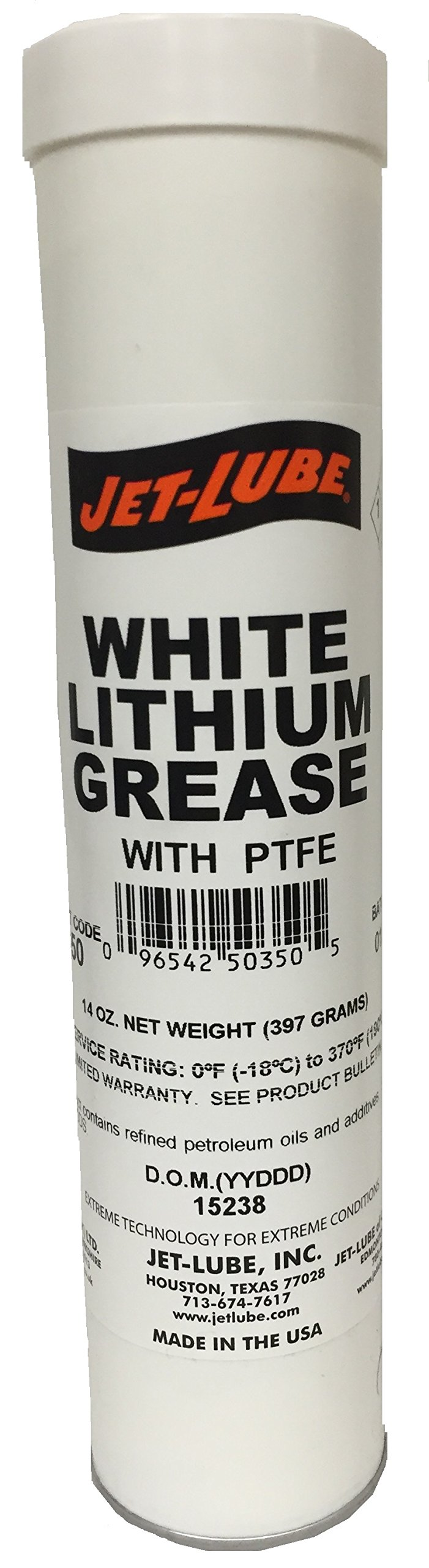 Jet-Lube 50350 Lithium Grease with PTFE, 0 to 370 degrees F, 2 NLGI Number, 14 oz Cartridge, White
