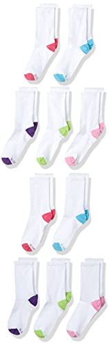 Hanes Girls' 10 Pack Crew Socks, Assorted Shoe Size, 4-10