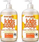 Everyone 3-in-1 Kids Soap: Shampoo, Body Wash, and Bubble Bath, Orange