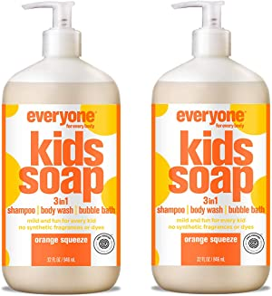 Everyone 3-in-1 Kids Soap: Shampoo, Body Wash, and Bubble Bath, Orange Squeeze, 32 Ounce, 2 Count