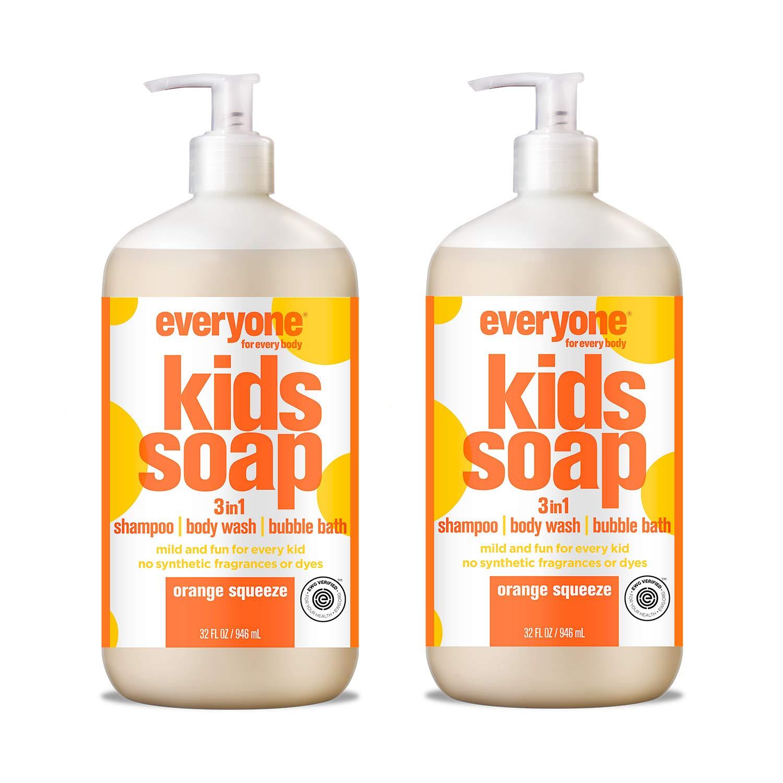 Everyone 3-in-1 Kids Soap - Shampoo, Body Wash, & Bubble Bath - Orange Squeeze, 32 Oz, 2Count