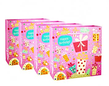 Happy Birthday Gift Bag 12 Pcs Set Of Reuseable Paper Medium Size Party