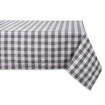 DII 52x52u0026quot; Square Cotton Tablecloth, Gray U0026 White Check   Perfect For  Fall,